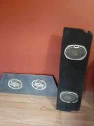 Caixas de som de madeira para carro