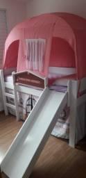 Cama Infantil com Escorregador e Tenda