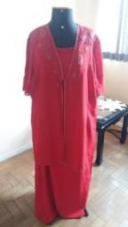 Vestido longo com cobertura vermelho (traje esporte fino) 52/54/56