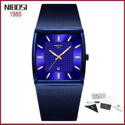 Relógio nibosi em aço azul com calendário