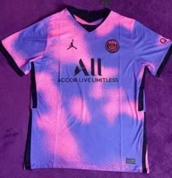 Camisa do PSG Jordan Rosa e roxa (disponível: GG)