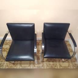 2 Cadeiras Brno Estrutura Aço Inox Design por Mies Van Der Rohe