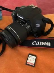 Câmera Canon EOS 2000D + Lente 18-55mm Canon + 2 Baterias + Cartão de memória de 64G