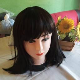 Lace wig sintética Lisa com franja