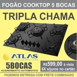 Fogão Cooktop 5 bocas Atlas Agile  Tripla Chama