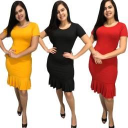 Título do anúncio: Kit 10 vestidos evangélicos malha canelado com babado