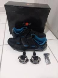 Sapatilha FLR F55 + Pedal MTB Shimano M-520
