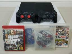 PS3 Sup Slim 250GB IMPECÁVEL + 2 Controles Originais + 4 Jogos / Completo | Aceito Cartão