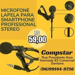 Microfone lapela profissional stereo p3