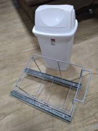 Lixeira telescópica de embutir no armário 14 litros