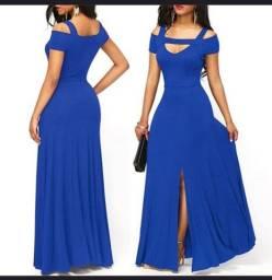 Lindo vestido longo com fenda Azul Royal