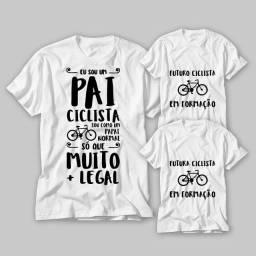 Kit 3 Camisetas Família ciclista
