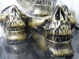 Máscara Caveira Meia Face Dourada