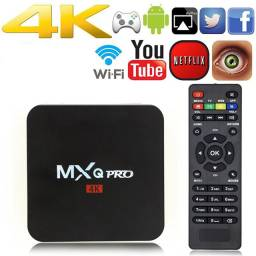 Tv box - Mx Q pro 4K. Falta a fonte (custa 26 eletrônica professor )