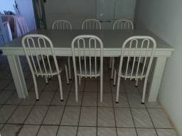 Mesa madeira maciça 6 lugares com cadeiras
