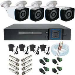 Kit Cftv com Câmeras 4 câmeras de segurança já com a instalação inclusa!