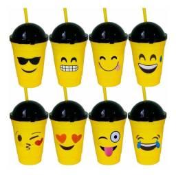 Copo De Plástico Emoticons Emoji Tampa E Canudo