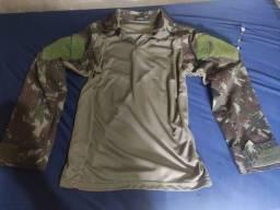 Camisa masculina camuflada T-shirt rip stop