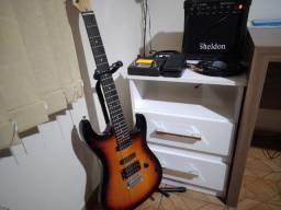 Kit guitarra + cubo + pedaleira Mooer Ge 100 + peças