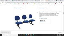 Par de cadeira executiva para sala de espera 3 lugares cada