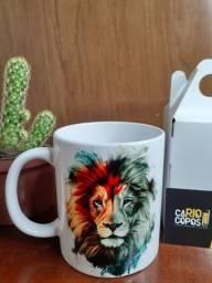 Caneca de porcelana personalizada tema leão de judá