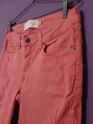 Calça jeans rosa cintura média Beagle, tam. 40