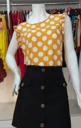 Blusa Amarela de Bolinha Tamanho G
