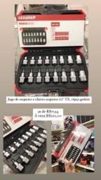 Jogo de soquetes e chaves soquetes 1/2 TX, 16pçs Gedore