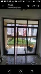 Porta de vidro com aluminio