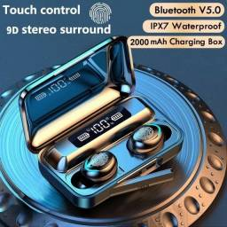 Fone bluetooth Tws F9 V5.0 perfeito para atividades Fitness