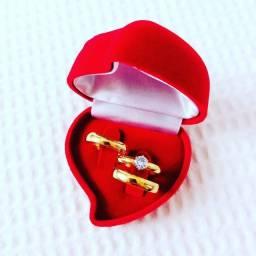 Promoção alianças de 4mm banhada a ouro