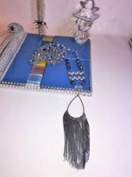 Kit: japamala (que pode se transformar em colar) anjo cristal, incensos, porta incenso