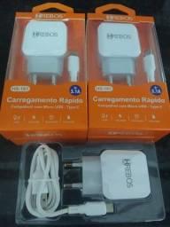 Carregador tipo C 2 USB + Cabo Turbo 3.1A Tipo C