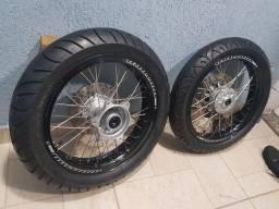 Jogo de rodas aro 17 super motard Xre 190 , bros 160 e outras
