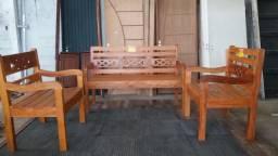 Banco de peroba | Banco rustico | Conjunto de banco madeira de demolição
