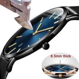Relógio masculino luxo slim ultra fino 6,5 mm espessura couro