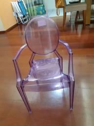 Cadeira infantil Vic de policabornato roxa-translúcida
