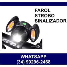Entrega Grátis * Farol Led para Bike com Sinalizador Bicicleta Ciclista Headlights