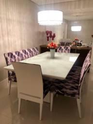 Mesa de Laca com Vidro branco 8 cadeiras