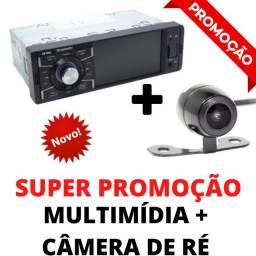 """Central Multimídia + Câmera de Ré Tela 4"""" Bluetooth Saída Áudio e Vídeo Passa Vídeos Usb"""