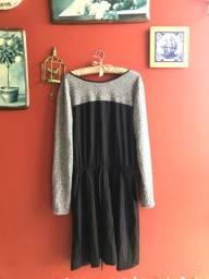 vestido cinza e preto G