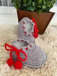 Sapatinho em Crochê para Bebê com Fio de Algodão