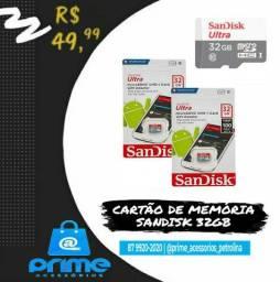 Cartão de Memória Sandisk ou Inova 32GB