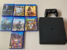 PS4 Slim + 7 jogos