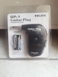 Aplificador de fone, toque em qualquer lugar, sem cabo, plugou tocou, Nux GP-1 Guitar Plug
