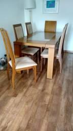 Mesa de jantar 6 cadeiras em madeira e vidro