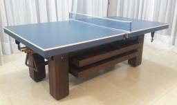 Mesa de bilhar com tampo para ping pong.