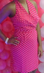 Vestido Rosa Festa Bolinhas