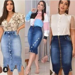 Jardineira, vestido saia jeans moda evangélica