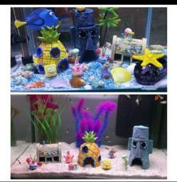 Boneco e casa bob esponja para aquário
